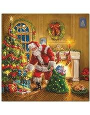 20 servetten Kerstman verdeeld geschenken | Santa | Winter | Kerstmis | tafeldecoratie 33 x 33 cm
