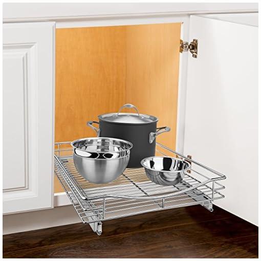 Kitchen Lynk Professional Organizer Pull Out Under Cabinet Sliding Shelf, 17″ W x 21″ D & Professional Slide Out Pan Lid Holder and Pull Out Kitchen Cabinet Organizer Rack, 7.25w x 21d x 9h -inch, Chrome pull-out organizers