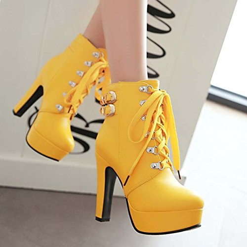 GTVERNH-High Heeled Short Boots In Autumn And Winter Rounded Heel Martin Boots Female Round Head Waterproof Shoe Boots 12Cm yellow UO0eODut