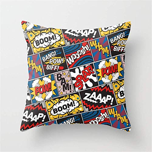 (ADFhudejfuvyour Modern Comic Book Superhero Pattern Color Colour Cartoon Lichtenstein Pop Art Pillow Cushion Cover Case 18 X 18 inches Throw Pillow Cover)