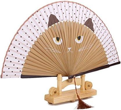 HYZ Abanico de bambú de Seda para Gatos, Abanico Plegable, Estilo ...