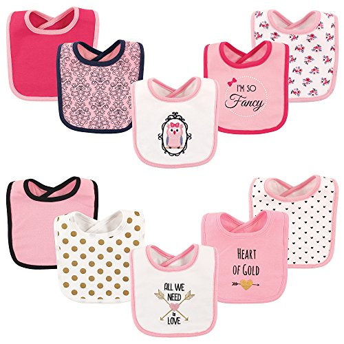 (Hudson Baby Drooler Bib, 10 Pack, Owl and)