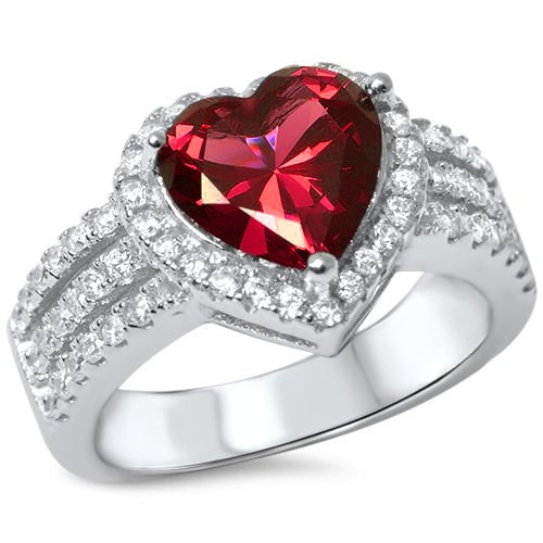 3ct Heart Shape Simulated Ruby & Cz .925 Sterling Silver Ring Size 8 (Ring Heart Diamond Ruby)