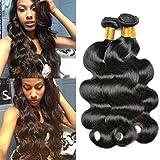 Cheap Iwish Hair 4 Bundles Brazilian Body Wave Virgin Human Hair Bundle Deals Grade 8A Unprocessed Hair Weave No Shedding No Tangle Can be Dyed (20 22 24 26, natural black)
