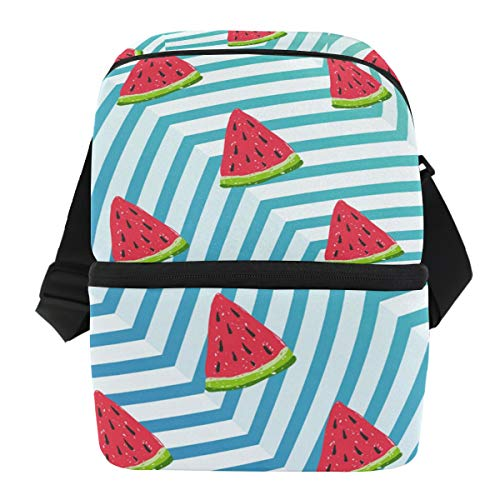 Insulated Watermelons Lunch Cooler Bag for Work Beach Picnic Camping, Double Deck Cooler
