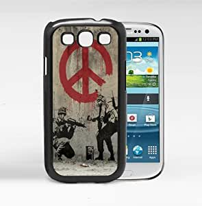 Banksy Soldier Painting with Red Dripping Peace Sign and Light Brown Grunge Background Hard Snap on Cell Phone Case Cover Samsung Galaxy S3 I9300