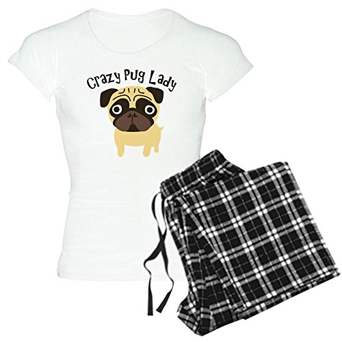 CafePress Crazy Pug Lady - Womens Novelty Cotton Pajama Set, Comfortable PJ Sleepwear - Flannel Crazy Pajamas