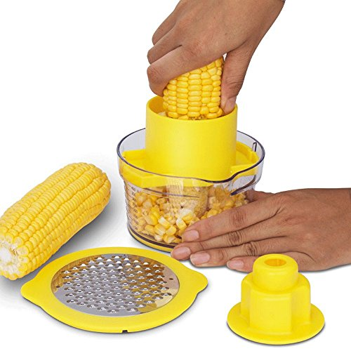 Cob Corn Stripper Kitchen Tools With Built-In Measuring Cup And Grater (Corn On The Cob Machine)