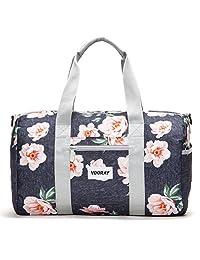 """Vooray Roadie 16"""" Small Gym Duffel Bag, Rose Floral Navy"""
