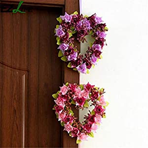 Leo Lamb 1 Pc Heart Shaped Rose Hanging Wreath Flowers Garland with Silk Ribbon for Home Door Wall Decor Wedding Car Decoration Flowers 27