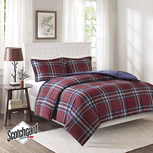 Madison Park Essentials Bernard 3M Scotchgard Down Alternative Comforter Mini Set, Twin/ Twin X-Large, Red - Madison Twin Comforter