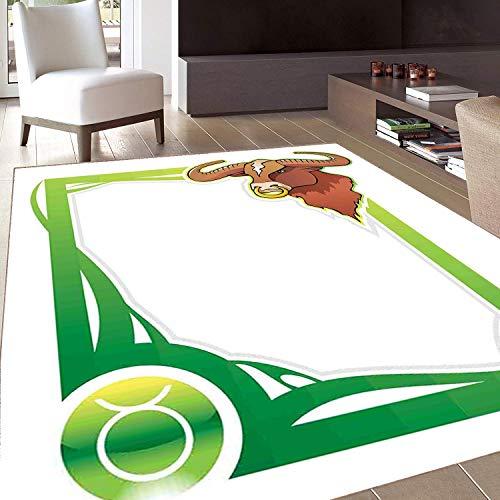 - Rug,FloorMatRug,Zodiac Taurus,AreaRug,Second Sign from The Series of Zodiac Cartoon Style Frame,Home mat,6'6