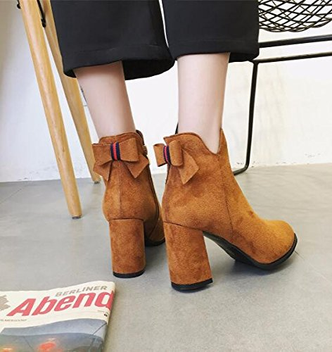 KHSKX-Thick With Round Head High Heels Girl Short Barrel Boots Martin Boots Korean Version Of The Spring And Autumn And Winter Satin Bow Tie Zipper 36 8vpFJUg