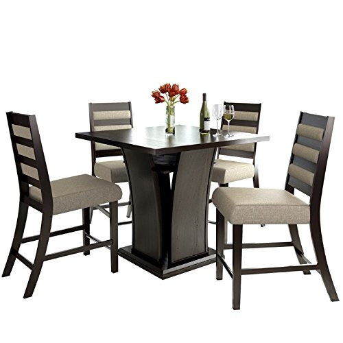 CorLiving 5 Piece Bistro Counter Height Dining Set with Woven Cream Padded Ladder Backed Fabric Seats