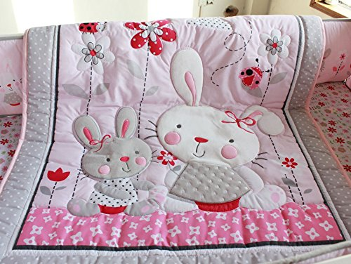 NAUGHTYBOSS Girl Baby Bedding Set Cotton 3D Embroidery Rabbit Flowers Insects Quilt Bumper Mattress Cover Bedskirt 7 Pieces Set White Pink by NAUGHTYBOSS