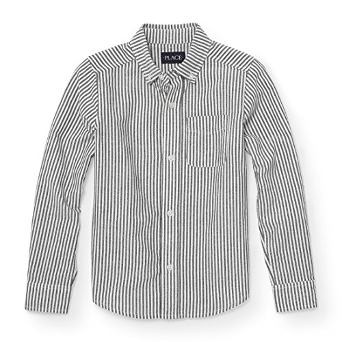 Stripe Button Front Shirt (The Children's Place Big Boys' Striped Oxford, White 88250, S (5/6))