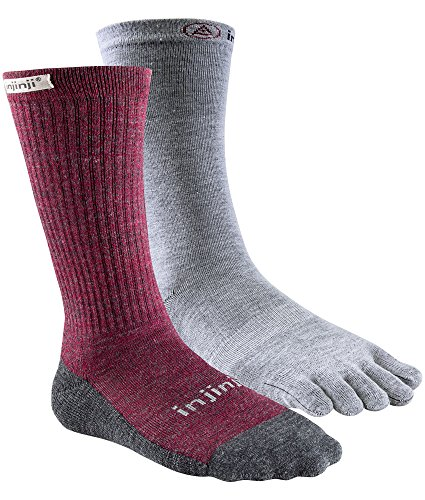 Injinji Women's Liner + Hiker Crew Socks (Medium/Large, Maroon) ()
