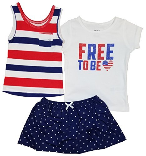 Carters Girls 3-Piece Outfits! Tank, Short sleeve Top & Skort Set (4T, WHITE/NAVY STAR)