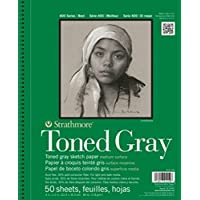 """Strathmore (412-105 400 Series Toned Gray Sketch Pad, 5.5""""x8.5"""", 50 Sheets"""