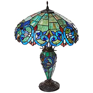 "Chloe Lighting CH18648T-DT3 Tiffany-Style 3 Light Double Lit Table Lamp Shade, 18"" x 18"" x 26"""