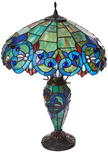 "Chloe Lighting CH18648T-DT3 Tiffany-Style 3 Light Double Lit Table Lamp Shade, 26 x 18 x 18"", Bronze"