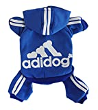 #8: Scheppend Adidog Pet Clothes for Dog Cat Puppy Hoodies Coat Winter Sweatshirt Warm Sweater,Blue Small