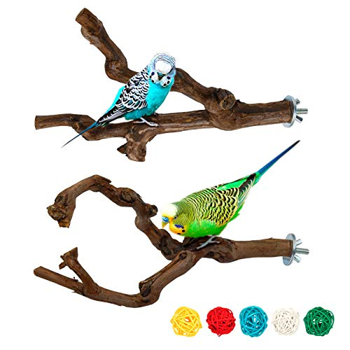 S-Mechanic 2 Packs Parrot Bird Perches,Natural Wild Grape Stick Grinding Paw Climbing Standing Cage Accessories Toy for 3-4 Parakeets, Budgies, Lovebirds,Cockatiels (Style-1)