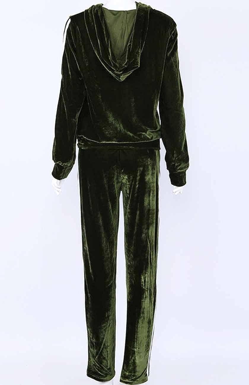 Emma Surv/êtement pour Femme Velvet Suit Suit Stripe Jumpsuit Suit Jogging Suit Costume de Bien-/être Costume d/écontract/é Deux-pi/èces Sweat /à Capuche Zipper Jogger Manches Longues Yoga