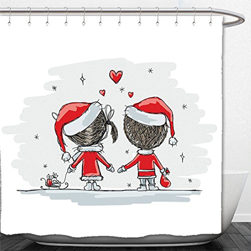 Van Gogh Couple Costume (Interestlee Shower Curtain Christmas Decorations Collection Soul Mates Love Couples With Santa Costumes Family Romance Winter Night Picture Red White)