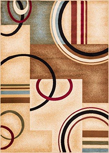 Deco Rings Ivory Geometric Modern Casual Rug 2x7 ( 2'3