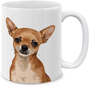 MUGBREW Cute Fawn Apple Head Chihuahua Full Portrait Ceramic Coffee Mug Tea Cup, 11 OZ
