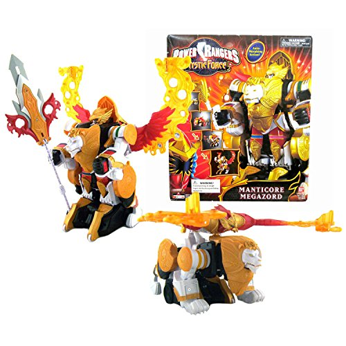 Bandai Year 2006 Power Rangers Mystic Force 11 Inch Tall Electronic Megazord Figure Set - MANTICORE MEGAZORD with Weapon Spinning Action Plus Lion Zord and Phoenix Zord Auto Morphing Action