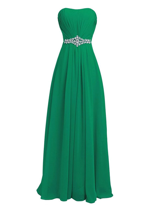 JAEDEN Long Bridesmaid Dresses Chiffon Strapless Prom Gown Sleeveless