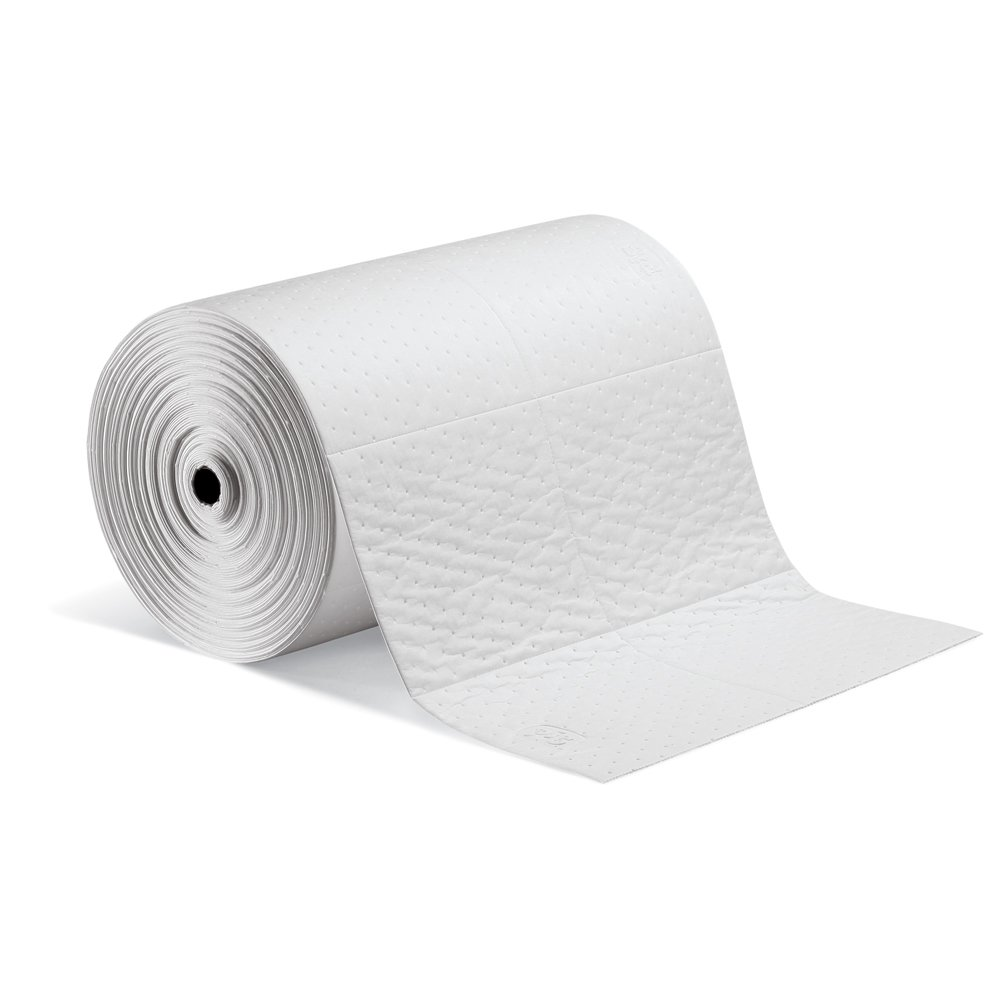 New Pig Oil-Only Absorbent Mat Roll, 32-Gal Absorbency, Heavyweight, Absorbs Oil-Based Liquids, Repels Water, 150' L x 24'' W, White (1 Roll), MAT424