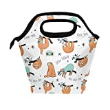 WOZO Funny Animal Sloth Tree Insulated Lunch Bag Tote Bag Cooler Lunchbox Handbag for Outdoors School Girl Boy