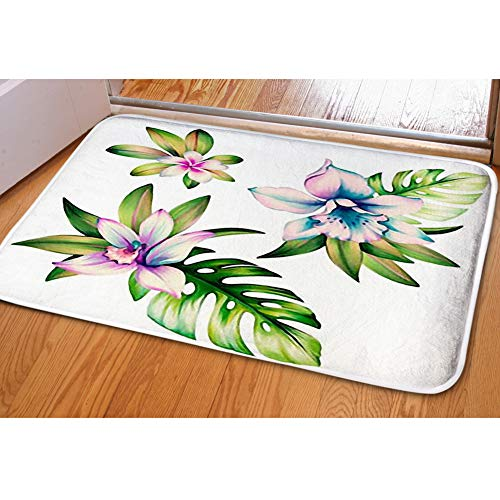iBathRugs Door Mat Indoor Area Rugs Living Room Carpets Home Decor Rug Bedroom Floor Mats,Set Clipart Orchid Flowers - Clipart Orchid