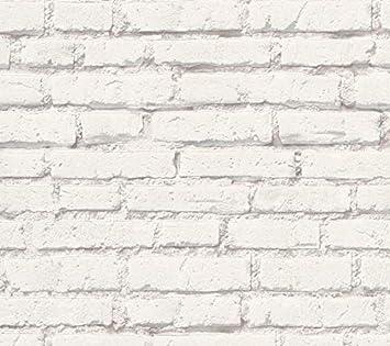 Papier Peint Brique Couleur Blanc Et Gris Effet 3d Natural Look3