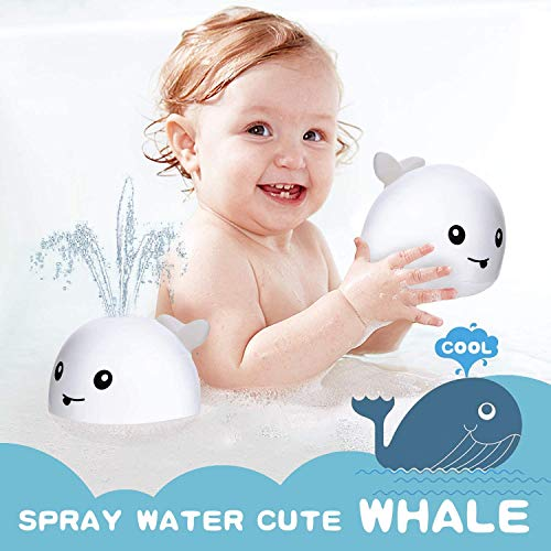 Baby Bath Toys, Whale Automatic Spray Water Bath Toy with LED Light, Induction Shines Sprinkler Bathtub Shower Toy for Toddlers Kids, Bathtub Shower Pool Bathroom Toy for Baby(White)
