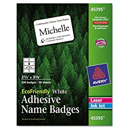 Averyamp;reg; - EcoFriendly Name Badge Labels, 2-1/3 x 3-3/8, White, 400/Box - Sold As 1 Box - A natural choice for getting the job done right and doing right by the environment!