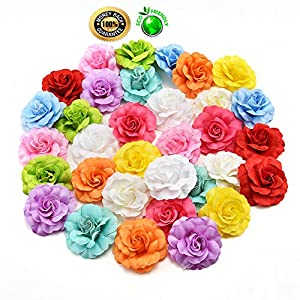 silk flowers in bulk wholesale Fake Flowers Heads Silk Orchid Artificial Flower Head for Wedding Decoration DIY Wreath Gift Scrapbooking Craft Fake Flowers 30pcs/lot 4.5cm (Multicolor) 95