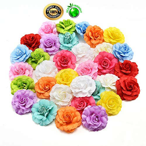 silk flowers in bulk wholesale Fake Flowers Heads Silk Orchid Artificial Flower Head for Wedding Decoration DIY Wreath Gift Scrapbooking Craft Fake Flowers 30pcs/lot 4.5cm (Multicolor)