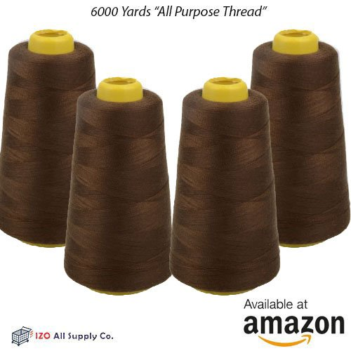 IZO Home Goods 4-Pack of 6000 Yards (EACH) Dark Brown Serger Cone Thread All Purpose Sewing Thread Polyester Spools Overlock (Serger,Over lock, Merrow, Single Needle)