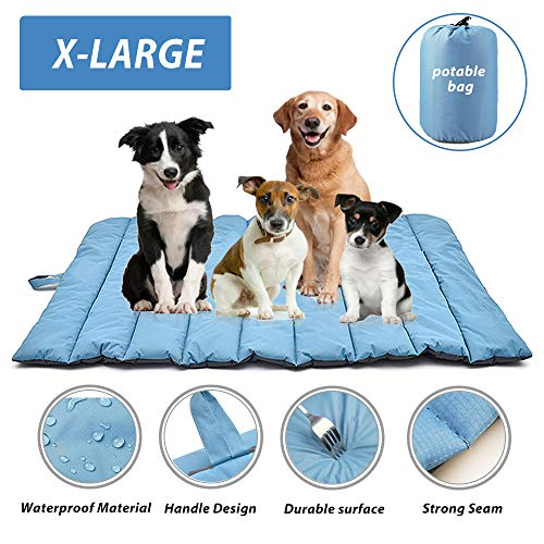"furrybaby Portable Waterproof Travel Pet Bed Mats for Cats&Puppy Dog Mattress Pad Mat Cushion for Indoor Outdoor Use X Large (57×35"")"