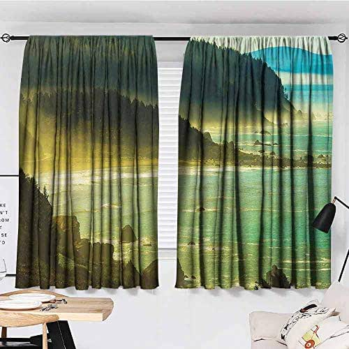 KAKKSW Black Out Window Curtain, Americana Landscape Decor, Foggy Redwood Pacific Ocean in Mist Windy Day Crescent Shore Picture, Sun Shade, 55
