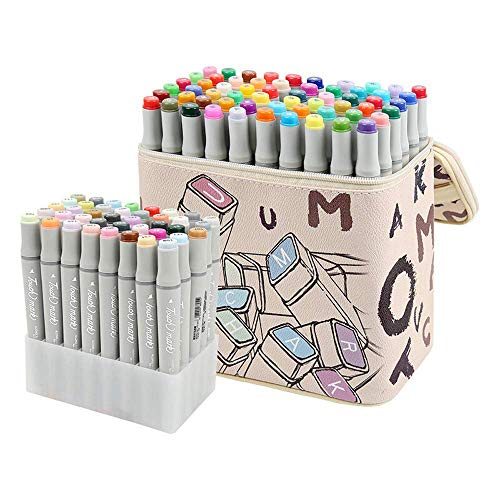 KLOLD Markers Pen Set 30/40/60/80 Colors Art Markers Alcohol Base Markers Drawing Pen Sets Manga Dual Headed Design Sketch Marker Pens Gifts (Student 40 Colors) -