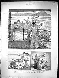 Impresión Antigua Barco 1886 de la Sífilis de Corea de la Nave de la Escuadrilla de China del Pequeño Symons
