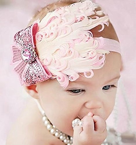 Newborn Feather Headband for Photo Props, Glitter Flower Butterfly Full Hair Decorations for Baby Girls and - Rosette Feather