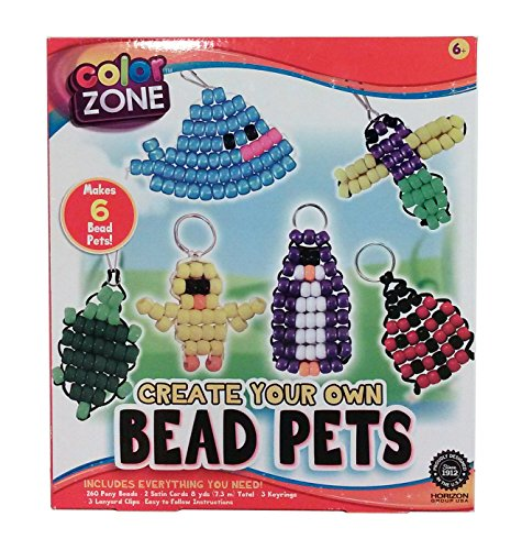 ColorZone Bead Keychain & Lanyard Pets 268pc Craft Kit - Makes 6 Bead Pets