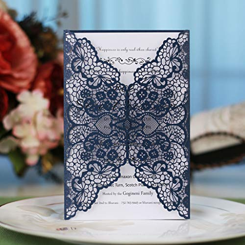 Laser Cut Invitations Kit Navy Blue 40 Packs FOMTOR Laser Cut Wedding Invitations with Envelopes and Inside Cards for Wedding,Birthday Parties,Baby Shower,Graduation -