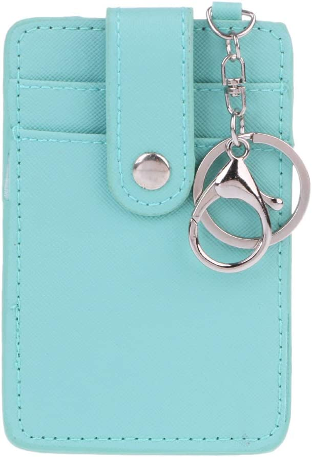 XISAOK Soft Leather Travel Card Bus Pass Credit Card ID Card Wallet Cover Case Holder with Keychain Keyring Tool